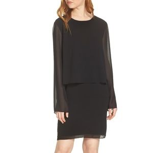 [CHARLES HENRY] Layered Popover Chiffon Dress